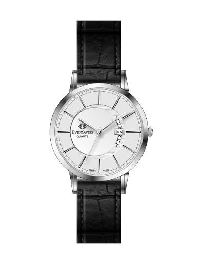 Everswiss Women's Leather Pair Silver Dial Black Leather Watch. 9749-LZS