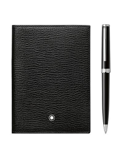 Montblanc Set with PIX Black Ballpoint Pen and Meisterstuck Selection Passport Holder 117089