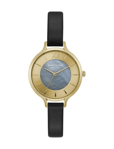 Kenneth cole Women's Transparency Multi Dial Black Leather Watch. KC15187003