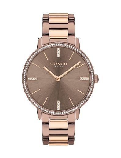 Coach Women's Audrey Brown Dial Rosegold Stainless Steel Watch. 14503502