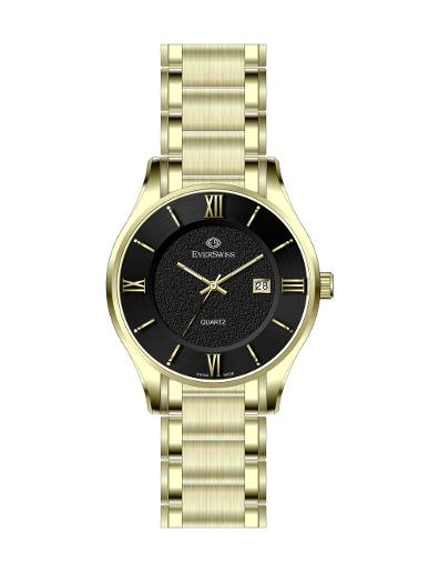 Everswiss Men's Metal Solid Band Pair Black Dial Yellow Gold Plated Stainless Steel Watch. 9745-GGB
