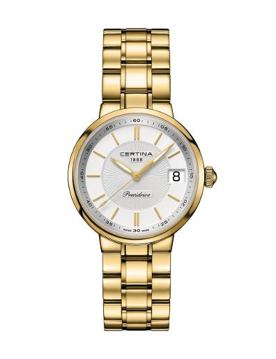 Certina Women's DS Stella Silver Dial Gold Stainless steel 316L PVD coating Watch C031.210.33.031.00