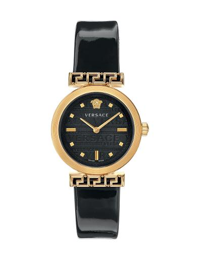 VERSACE Women's Meander Black Dial Black Leather Watch VELW00420