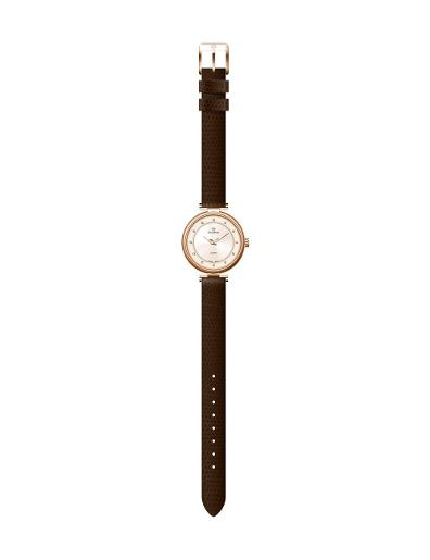 Everswiss Women's Ladies Leather ROSE Dial Brown Leather Watch. 2802-LLRR