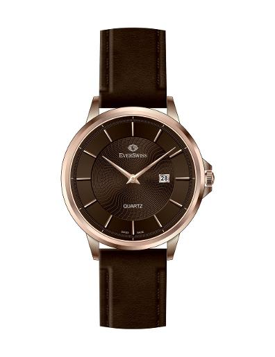 Everswiss Men's Gents Leather Brown Dial Brown Leather Watch. 9746-GLRBR