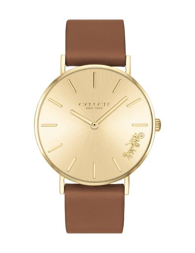 Coach Women's Perry Rose Gold Dial Brown Leather Watch. 14503331