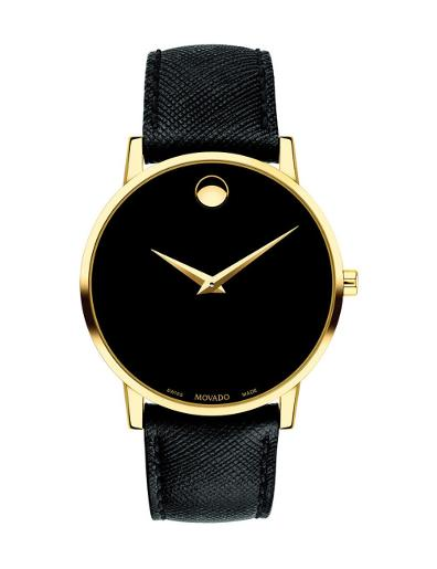 Movado Men's Museum Classic Black Dial Black Strap Watch. 607195
